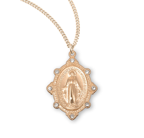 HMH Religious Gold over Sterling Silver Miraculous w/Swarovski Crystals Pendant Necklace