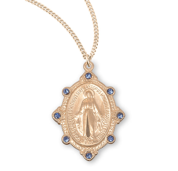HMH Religious Gold over Sterling Silver Miraculous w/Lt Sapphire Swarovski Crystals Pendant Necklace