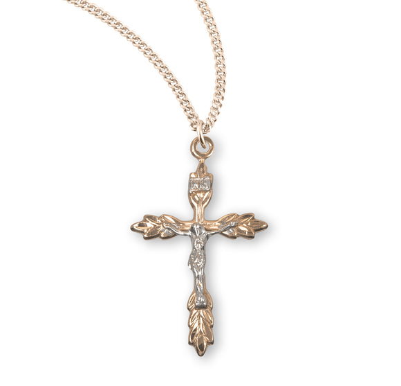 HMH Religious Two Tone Wheat Gold Over Sterling Silver Crucifix Pendant Necklace
