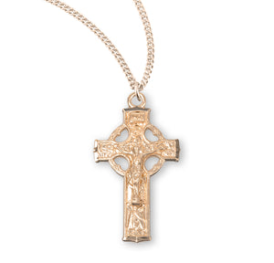 HMH Religious Celtic Gold Over Sterling Silver Crucifix Pendant Necklace