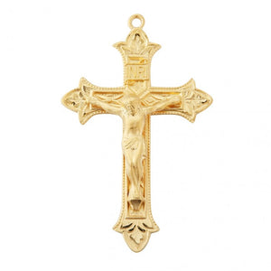 HMH Religious Fleur De Lis Cross Gold Over Sterling Silver Crucifix Pendant Necklace