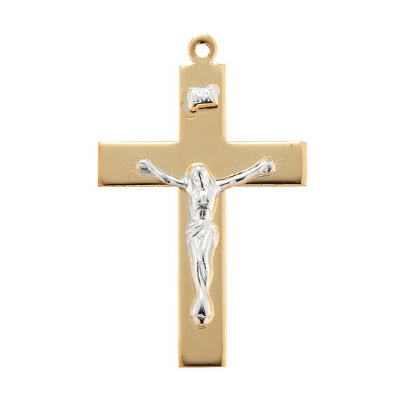 HMH Religious Fancy Two Toned Gold Over Sterling Silver Crucifix Pendant Necklace