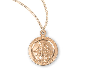 "HMH Religious St Michael Round Sterling Silver with Gold Overlay Medal Necklace w/18"" Chain"