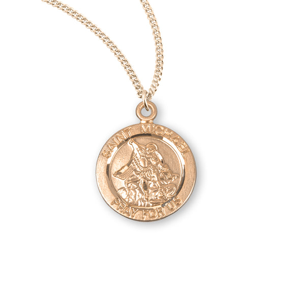 HMH Religious St Michael Round Sterling Silver with Gold Overlay Medal Necklace w/18