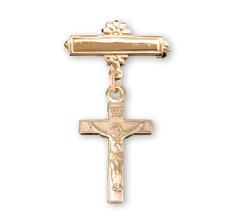 HMH Relgious Baby Badge Gold Bar Pin w/Crucifix Double Cross Jewelry