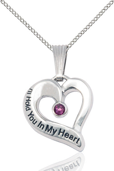 February Amethyst Hold You in My Heart Birthstone Pendant Necklace by Bliss Manufacturing