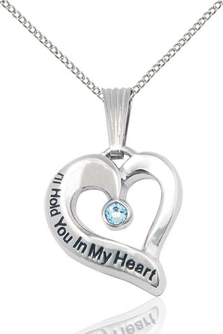 Bliss March Aqua Hold You in My Heart Birthstone Pendant Necklace