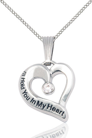 Bliss April Crystal Hold You in My Heart Birthstone Pendant Necklace
