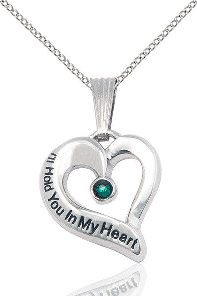 Bliss May Emerald Hold You in My Heart Birthstone Pendant Necklace