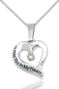 Bliss August Peridot Hold You in My Heart Birthstone Pendant Necklace