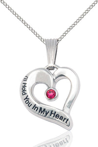 Bliss July Ruby Hold You in My Heart Shaped Birthstone Pendant Necklace