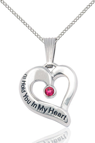 Bliss July Ruby Hold You in My Heart Birthstone Pendant Necklace
