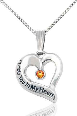 Bliss November Topaz Hold You in My Heart Birthstone Pendant Necklace