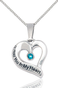December Zircon Hold You in My Heart Birthstone Pendant Necklace by Bliss Manufacturing