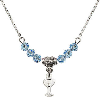 Silver Birthstone Holy Communion Chalice Cup 6 Crystal Bead Necklace by Bliss Mfg