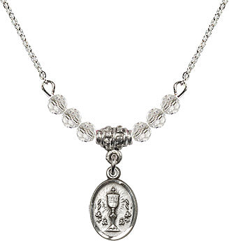 Silver Birthstone Communion Oval Chalice 6 Crystal Bead Necklace by Bliss Mfg
