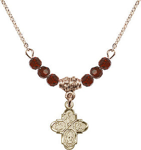 Gold Birthstone 4-way Cross Communion Chalice 6 Crystal Bead Necklace by Bliss Mfg