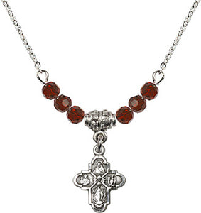 Silver Birthstone 4-way Cross Communion Chalice 6 Crystal Bead Necklace by Bliss Mfg