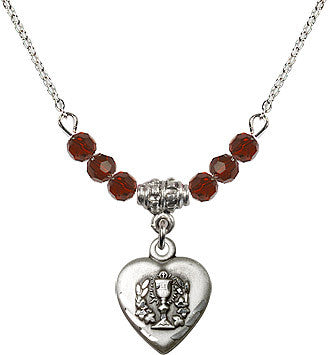 January Garnet Birthstone Communion Heart Chalice 6 Crystal Bead Necklace by Bliss Mfg