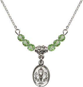 August Peridot Birthstone Communion Oval Chalice 6 Crystal Bead Necklace by Bliss Mfg