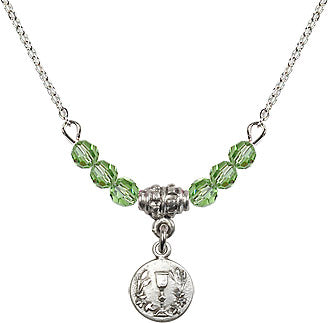 August Peridot Birthstone Holy Communion Round Chalice 6 Crystal Bead Necklace by Bliss Mfg
