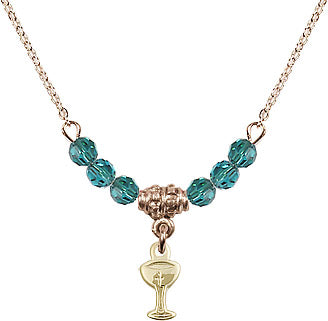Gold Birthstone Holy Communion Chalice Cup 6 Crystal Bead Necklace by Bliss Mfg