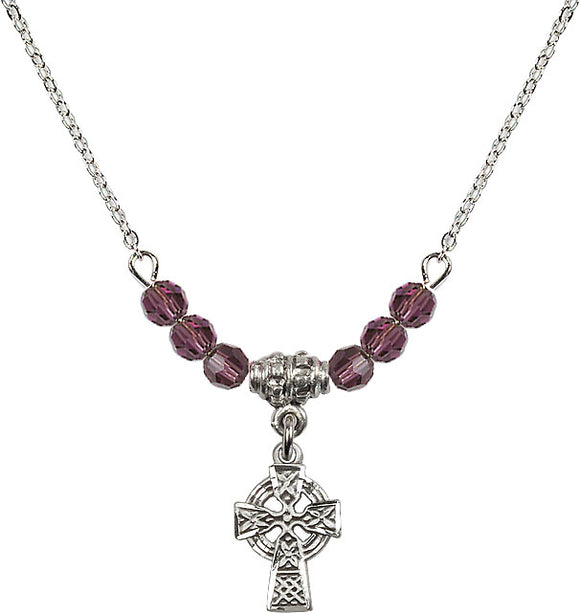 Bliss Sterling Silver Irish Celtic Cross Swarovski Crystal Birthstone Beaded Necklace