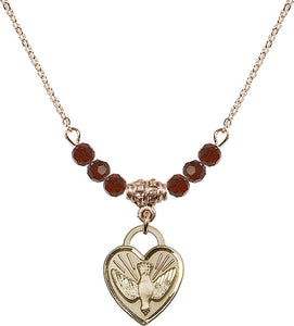 Bliss Gold-filled Confirmation Holy Spirit Heart Shaped Birthstone Swarovski Crystal Necklaces