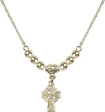 Bliss Gold-Filled Irish Celtic Cross Swarovski Crystal Birthstone Beaded Necklace