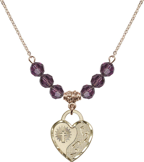 Bliss Gold-filled Foot Prints in the Sand Heart Shaped 6mm Birthstone Swarovski Crystal Necklaces