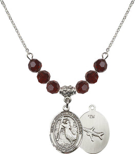 Bliss Sterling Silver St Joseph of Cupertino Airplane Swarovski Crystal Birthstone Beaded Necklace
