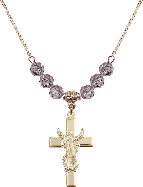 Bliss Manufacturing Risen Jesus Christ Cross 6mm Birthstone Swarovski Crystal Necklace