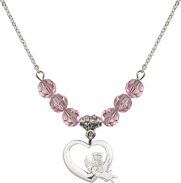 Bliss Sterling Silver Heart Guardian Angel Swarovski Crystal Birthstone Beaded Necklace