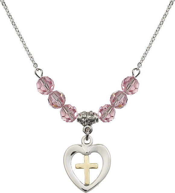 Bliss Sterling Silver Heart w/Gold Cross Swarovski Crystal Birthstone Beaded Necklace