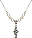 Bliss Sterling Silver Miraculous Figure Shaped Swarovski Crystal Birthstone Beaded Necklace