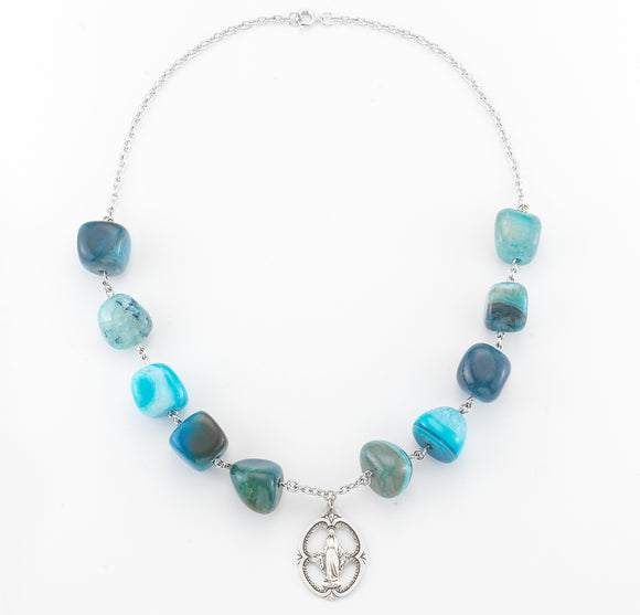HMH Religious Blue Agate Gemstone Bead Sterling Silver Miraculous Medal Necklace