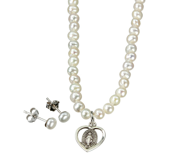 HMH Religious Freshwater Pearl Sterling Silver Miraculous Medal Necklace and Earring Set