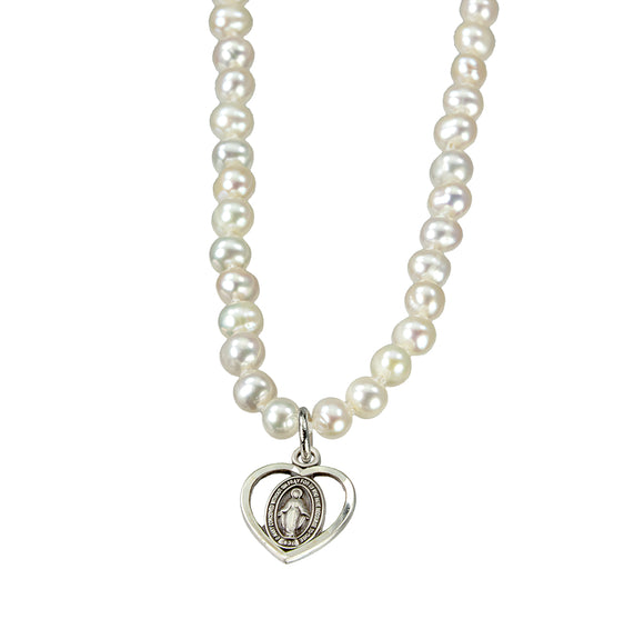 HMH Religious Freshwater Pearl Necklace with Sterling Silver Miraculous Heart Pendant Necklace