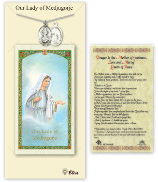 Our Lady of Medugorje Pendant and Holy Prayer Card Gift Set by Bliss Manufacturing