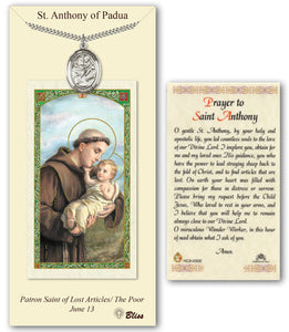 St Anthony of Padua Pendant and Holy Prayer Card Gift Set by Bliss Manufacturing