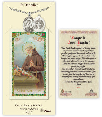 Saint Benedict Pendant and Holy Prayer Card Gift Set by Bliss Manufacturing