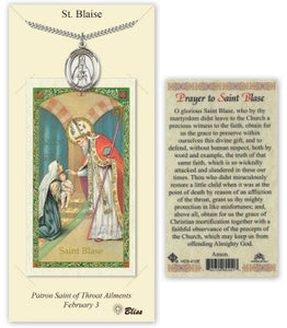 Saint Blaise Pendant and Holy Prayer Card Gift Set by Bliss Manufacturing