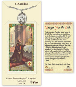 St Camillus of Lellis Pendant and Sick Holy Prayer Card Gift Set by Bliss Manufacturing