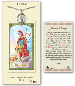 St Florian Pendant and Fireman Holy Prayer Card Gift Set by Bliss Manufacturing