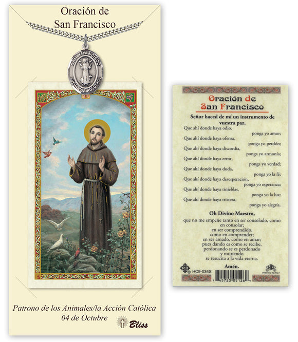 Spanish St Francis of Assisi Pendant and Holy Prayer Card Gift Set by Bliss Manufacturing