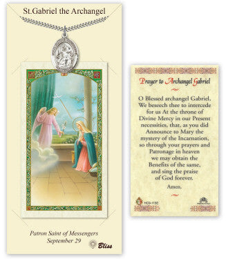 St Gabriel the Archangel Pendant and Holy Prayer Card Gift Set by Bliss Manufacturing