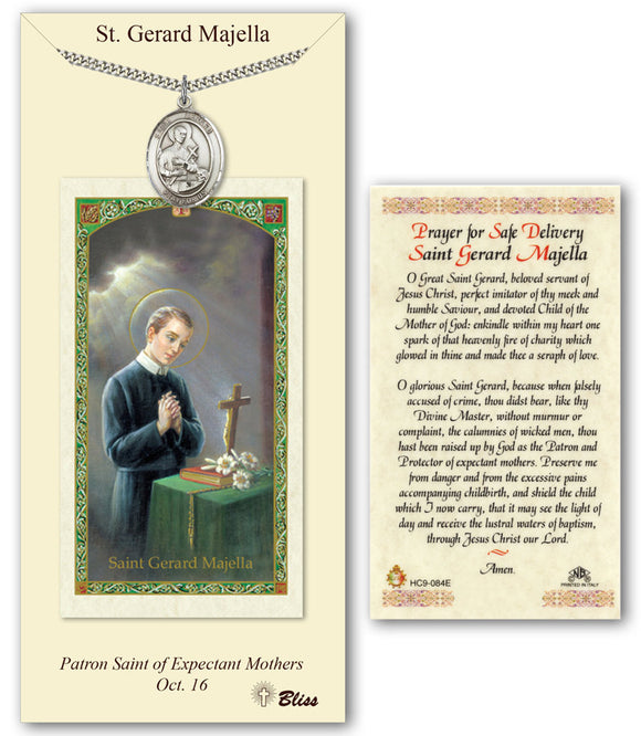 St Gerard Majella Pendant w/Safe Delivery Prayer Card Gift Set by Bliss Manufacturing