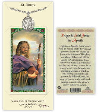 St James the Greater Pendant and Holy Prayer Card Gift Set by Bliss Manufacturing