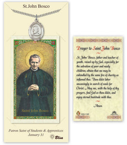 Saint John Bosco Pendant and Holy Prayer Card Gift Set by Bliss Manufacturing
