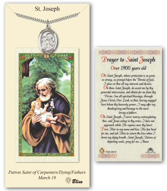 St Joseph Pendant and Over 1900 Years Old Holy Prayer Card Gift Set by Bliss Manufacturing